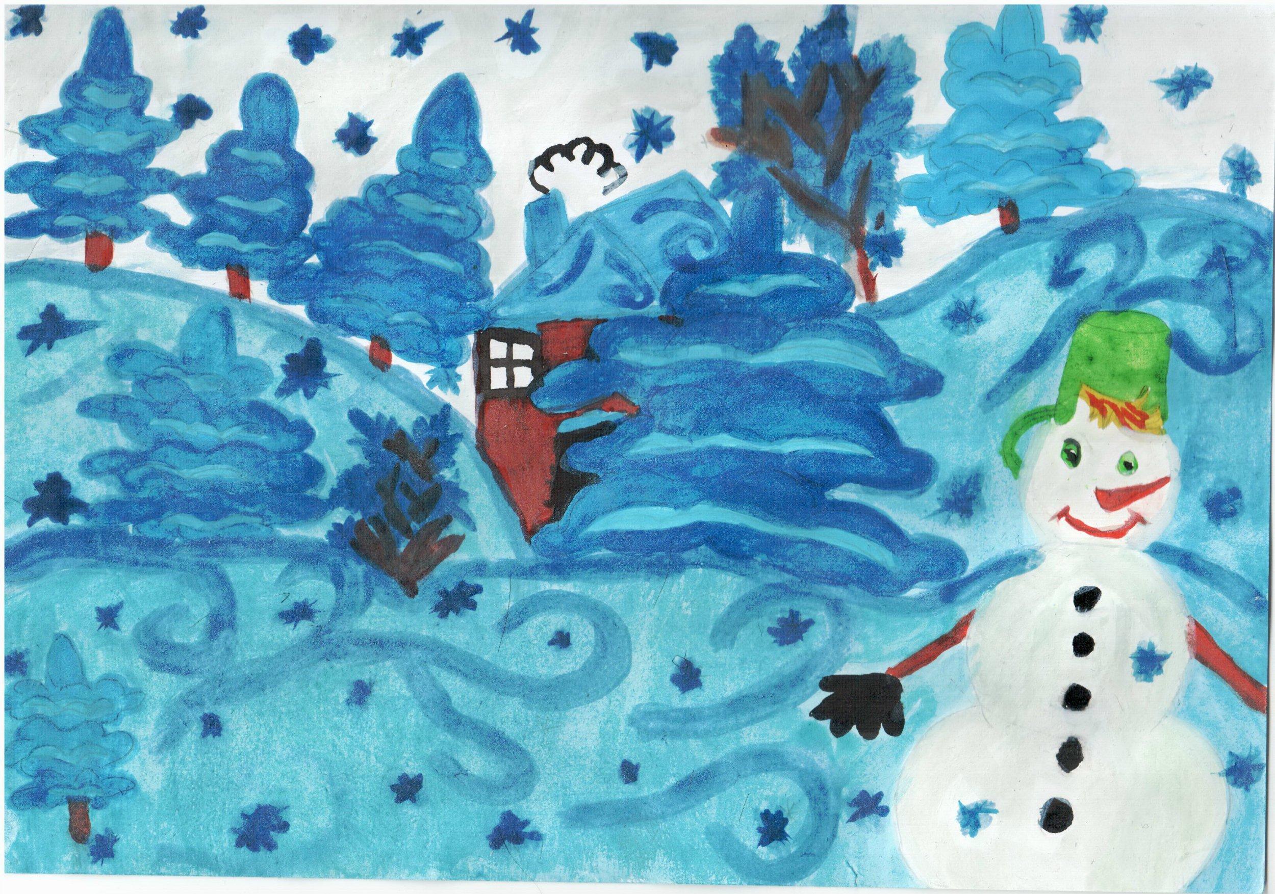 рисунок в первый класс на тему зима меня батумская